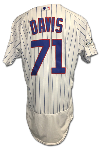 Photo of Wade Davis 2017 Postseason Game-Used Jersey -- 10/11 vs. Nationals: NLDS Game 4 -- 10/17 vs. Dodgers: NLCS Game 3
