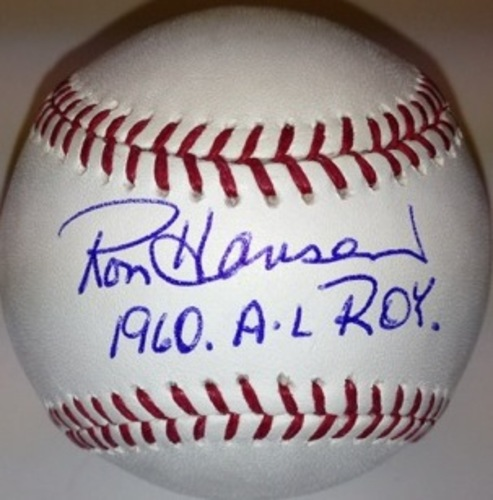 "Photo of Ron Hansen Autographed ""1960 ROY"" Baseball"