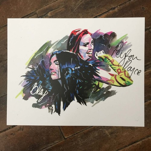 Billie Kay & Peyton Royce SIGNED 11 x 14 Rob Schamberger Print