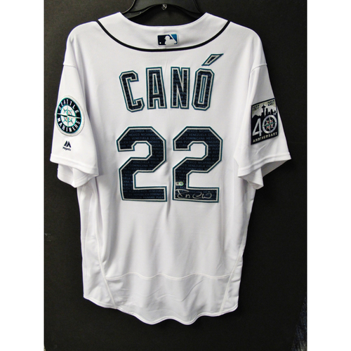 Photo of Mariners Care Hurricane Irma Relief - Robinson Cano Team-Issued and Autographed Marineros Jersey 9-9-2017 Size 46