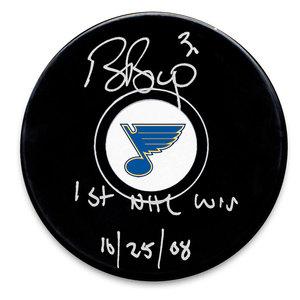 Ben Bishop St. Louis Blues 1st NHL Win 10/25/08 Autographed Puck