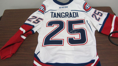 AHL WHITE GAME ISSUED ERIC TANGRADI JERSEY SIGNED