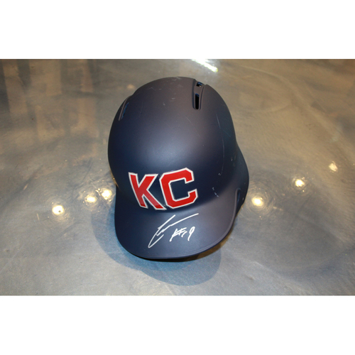 Photo of Cheslor Cuthbert Autographed Game-Used Kansas City Monarchs Helmet (5/7/2017) (Size 7 3/8)