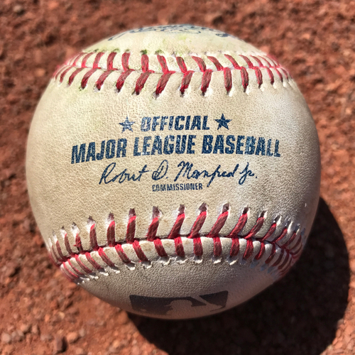 Photo of San Francisco Giants - 2017 Game-Used Baseball - Eduardo Nunez Double