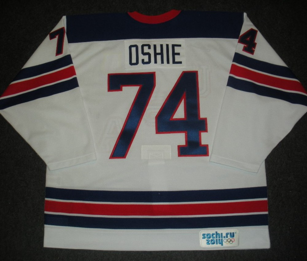 T.J. Oshie - Sochi 2014 - Winter Olympic Games - Team USA Throwback Game-Worn Jersey - Worn in Warmups and 1st Period vs. Slovenia, 2/16/14