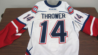 AHL WHITE GAME ISSUED DALTON THROWER JERSEY SIGNED