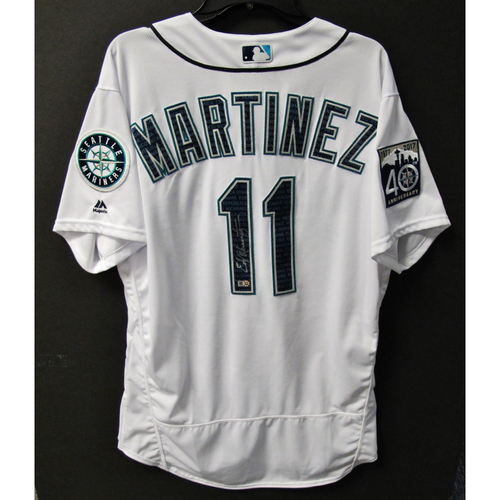Photo of Mariners Care Hurricane Irma Relief - Edgar Martinez Team-Issued and Autographed Marineros Jersey 9-9-2017 Size 48