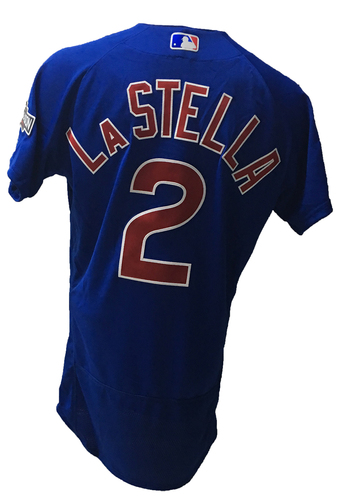 Photo of Tommy La Stella Jersey -- 2016 World Champion Season -- NLDS Game 3 -- Cubs vs Giants -- 10/10/16