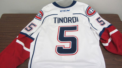 AHL WHITE GAME ISSUED JARRED TINORDI JERSEY SIGNED