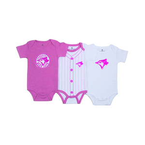 Toronto Blue Jays Newborn/Infant 3 Piece Bodysuit Set Pink/White by Snugabye