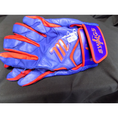 Photo of Shin-Soo Choo Autographed Pair of Blue Game-Used Batting Gloves Auctioned To Benefit Jonathan Lucroy Breast Cancer Research Effort