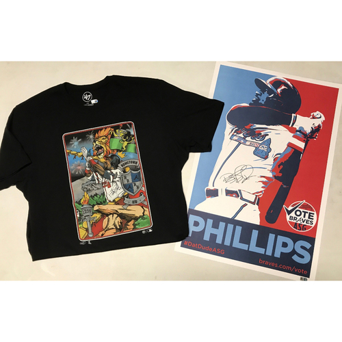 Photo of Brandon Phillips Autographed T-shirt Worn by Brandon & Autographed All Star Game Campaign Poster