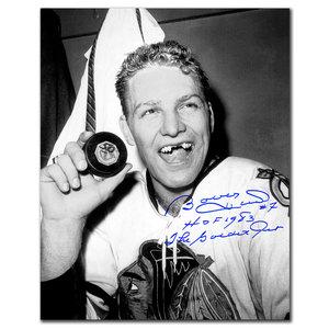 Bobby Hull Chicago Blackhawks 50th GOAL B&W Autographed 16X20