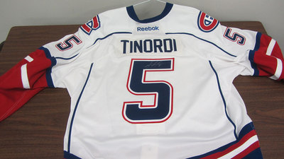 AHL WHITE GAME ISSUED JARRED TINORDI JERSEY