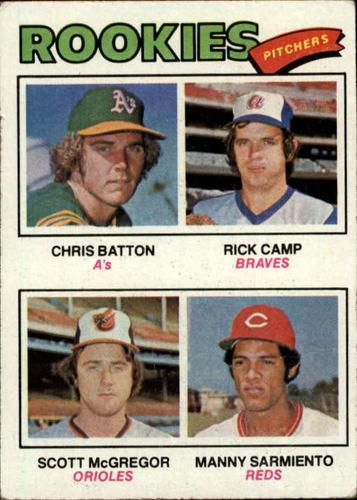 Photo of 1977 Topps #475 Rookie Pitchers/Chris Batton RC/Rick Camp RC/Scott McGregor/Manny Sarmiento RC