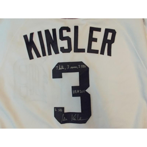 Photo of Autographed Game-Used Ian Kinsler Home Jersey: 7 Hits, 3 Runs, 2 RBI's, HR #205