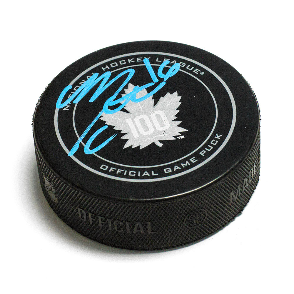 Mitch Marner Toronto Maple Leafs Autographed 100th Anniversary Game Model Puck