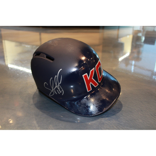 Photo of Salvador Perez Autographed Game-Used Kansas City Monarchs Helmet (5/7/2017) (Size 7 3/4)