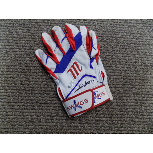 Photo of Shin-Soo Choo Autographed Pair of White Game-Used Batting Gloves Auctioned To Benefit Jonathan Lucroy Breast Cancer Research Effort