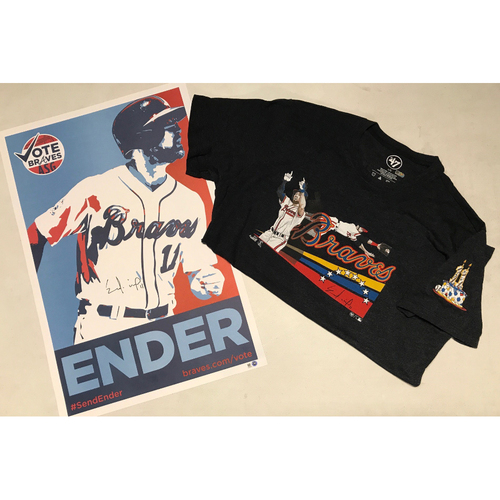 Photo of Ender Inciarte Autographed T-shirt Worn by Ender & Autographed All Star Game Campaign Poster
