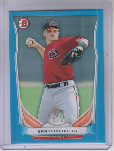 Photo of 2014 Bowman Draft Top Prospects Blue #TP77 Brandon Drury 239/399 -- D'backs post-season