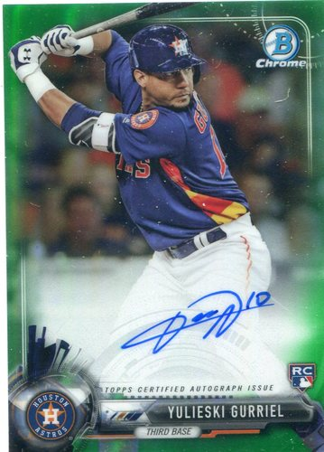 Photo of 2017 Bowman Chrome Rookie Autographs Green Refractors 85/99 Yulieski Gurriel/Blue jersey -- Astros A