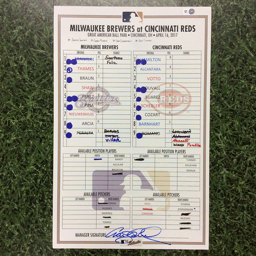 Photo of MIL @ CIN 04/16/17 Lineup Card - Win 4-2: Braun, Shaw & Thames HRs (Thames 5 HRs in 4-Game Series)