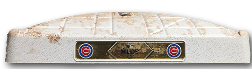 Photo of Game-Used 2nd Base -- Innings 1 through 4 -- 2017 Postseason -- NLDS Game 3 -- Nationals vs. Cubs -- 10/9/17
