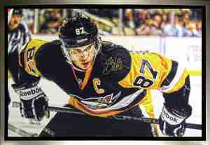 Sidney Crosby - Signed & Framed 24x35 Canvas - Pittsburgh Penguins Leaning Over - 3rd Jersey