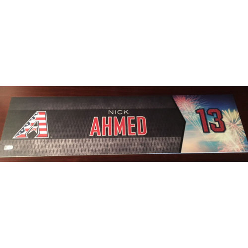 Photo of Nick Ahmed Game-Used 4th of July Nameplate