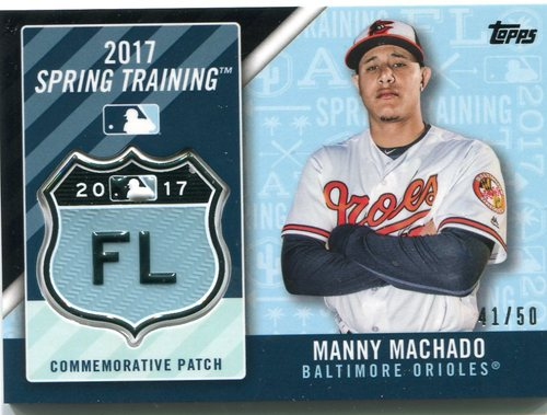 Photo of 2017 Topps Spring Training Logo Patches Black  Manny Machado 41/50