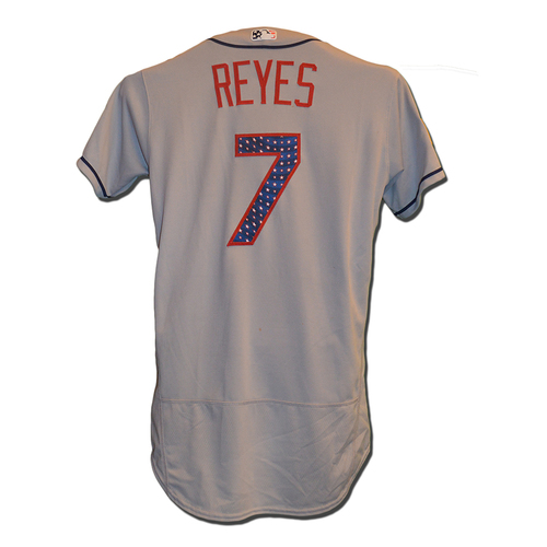 Photo of Jose Reyes #7 - Reyes Goes 1-5; Home Run, RBI - Game Used Road Grey 4th of July Jersey - Mets vs. Nationals - 7/4/17
