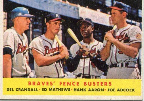Photo of 1958 Topps #351 Braves Fence Busters/Del Crandall/Eddie Mathews/Hank Aaron/Joe Adcock