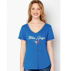 Toronto Blue Jays Women's Deep V-Neck T-Shirt by Soft As A Grape