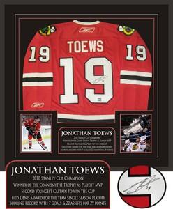 Jonathan Toews - Signed & Framed Red Chicago Blackhawks Jersey