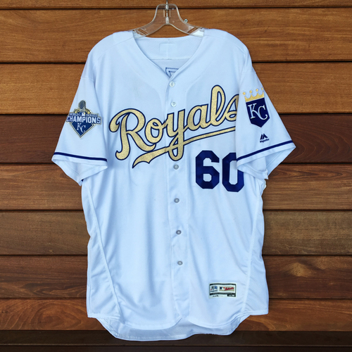 Photo of Hunter Dozier Game-Used Gold Jersey (First Career RBI) (9/16/16) - Size 48