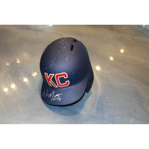 Photo of Whit Merrifield Autographed Game-Used Kansas City Monarchs Helmet (5/7/2017) (Size 7 1/2)