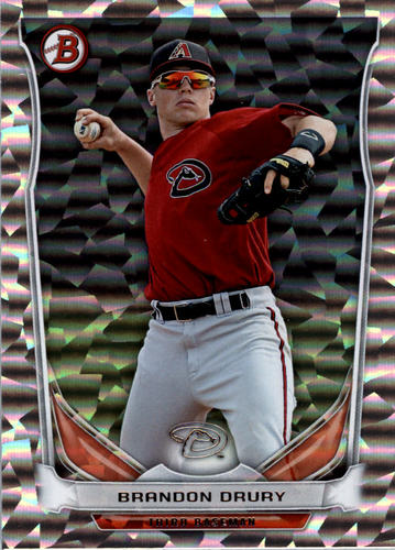 Photo of 2014 Bowman Draft Top Prospects Silver Ice #TP77 Brandon Drury -- D'backs post-season