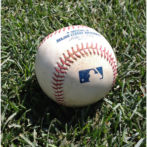 Photo of 2017 NL East Clinch Game-Used Baseball: Stephen Strasburg Strikes Out Rhys Hoskins