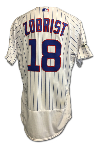 Photo of Ben Zobrist 2017 Postseason Game-Used Jersey -- 10/11 vs. Nationals: NLDS Game 4 -- 10/17 vs. Dodgers: NLCS Game 3