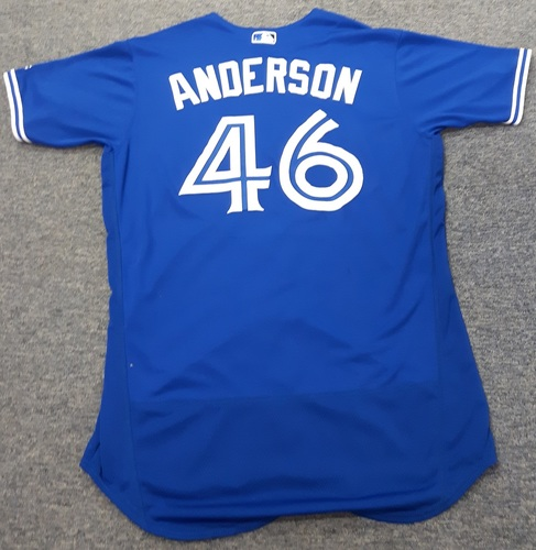 Photo of Authenticated Team Issued Jersey - #46 Brett Anderson (2017 Season). Size 48.
