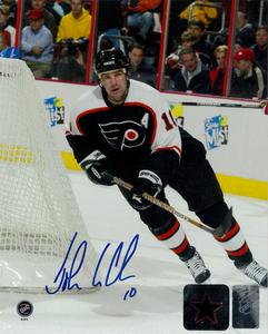 John Leclair Autographed Philadelphia Flyers Action 8x10 Photo