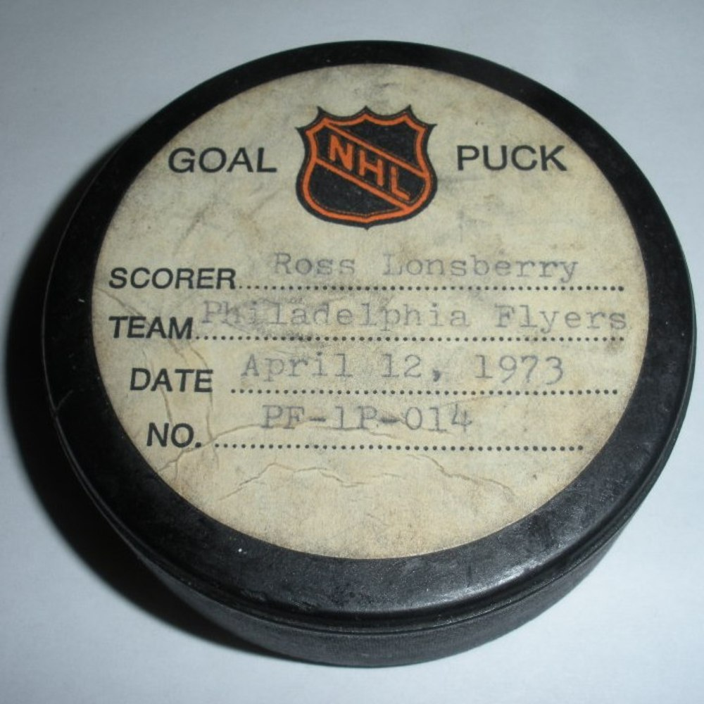 Ross Lonsberry - Philadelphia Flyers - Goal Puck - April 12, 1973 (No Logo)