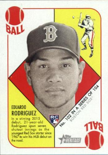 Photo of 2015 Topps Heritage '51 Collection #102 Eduardo Rodriguez Rookie Card -- Red Sox post-season
