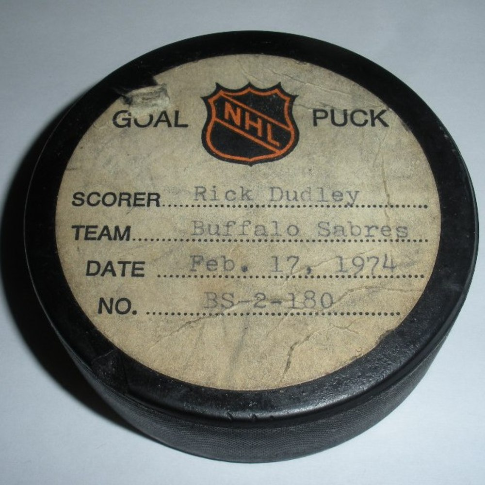 Rick Dudley - Buffalo Sabres - Goal Puck - February 17, 1974 (No Logo)