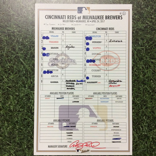 Photo of CIN @ MIL 04/24/17 Lineup Card - Win 11-7: Thames 2 HR Game - Ties Franchise HR Record with 10 HRs in April