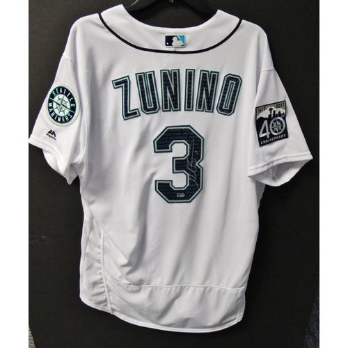 Photo of Mariners Care Hurricane Irma Relief - Mike Zunino Game-Used and Autographed Marineros Jersey 9-9-2017 Size 48