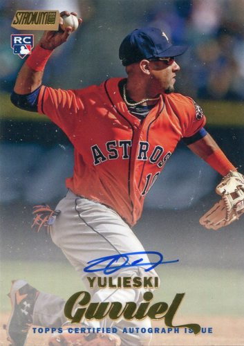 Photo of 2017 Stadium Club Autographs Gold Foil 48/50 Yulieski Gurriel -- Astros ALCS roster
