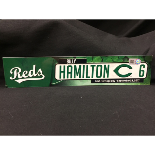 "Photo of Billy Hamilton ""Irish Heritage"" Team-Issued Locker Tag from Bronson Arroyo Farwell Game -- Red Sox vs. Reds on 9/23/17"