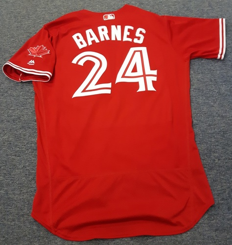 Photo of Authenticated Game Used Jersey - #24 Danny Barnes. July 1, 2017 (Canada Day). Size 46.